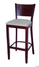 Burbank Wooden High Stool with Upholstered Seat